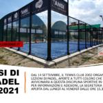 Corsi di Padel, si parte dal 14 settembre